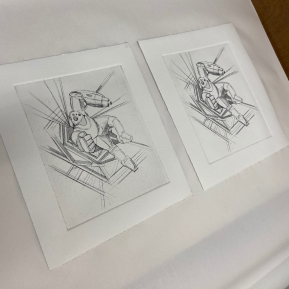 Intaglio prints based on Daxam Shock Trooper concept